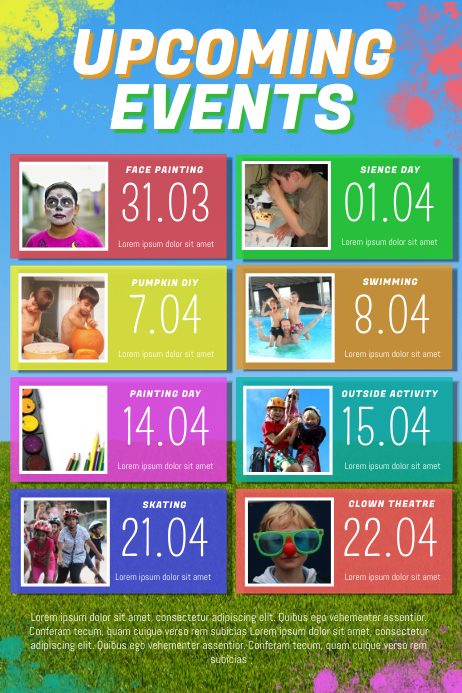 Kids Upcoming Events Flyer Template Postermywall