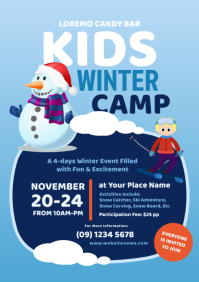 Kids Winter Camp Flyer A4 template