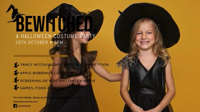Kids Witch Costume Party Facebook Cover Video Template