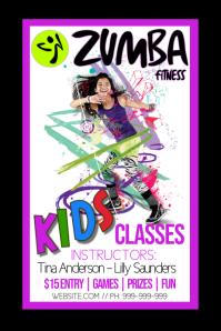 Kids Zumba Fitness Poster template