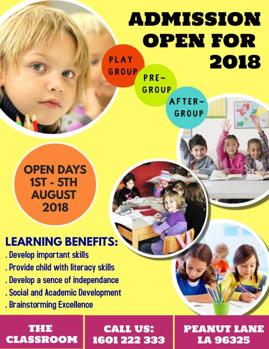 Kindergarten Admission Open Day Flyer Template