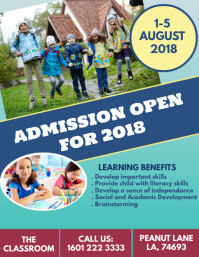 Kindergarten Admission Open Day Flyer Template