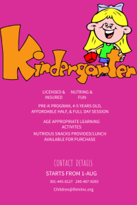 Kindergarten Enrolling Poster Template