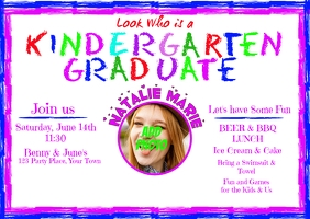 Kindergarten Graduation Invitation Postcard