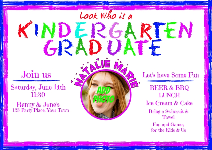 Kindergarten Graduation Invitation Postcard template