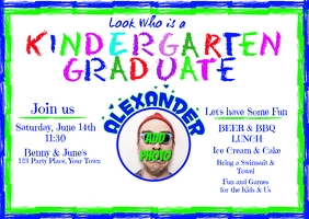Kindergarten Graduation Invitation Postcard template