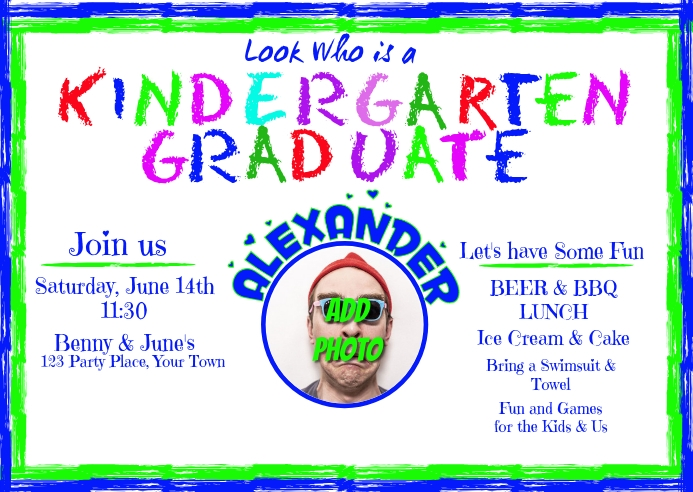 Kindergarten Graduation Invitation Postcard Postal template
