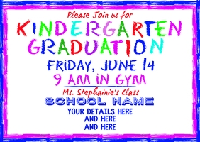 Kindergarten Graduation School Announcement Postcard template