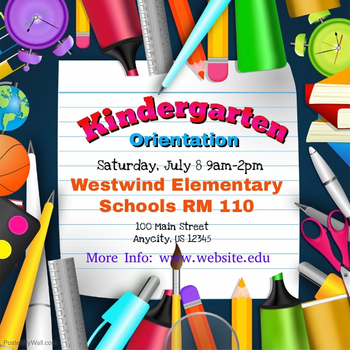Kindergarten Orientation Template Postermywall