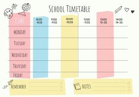 Kindergarten School Timetable Template
