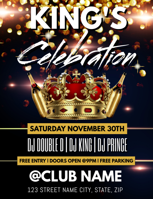 KING'S CELEBRATION CLUB TEMPLATE
