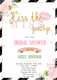 Kiss the miss goodbye bridal shower card