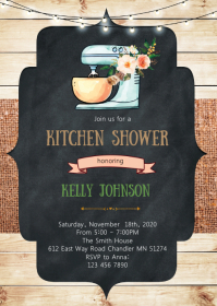 Kitchen bridal shower invitation A6 template