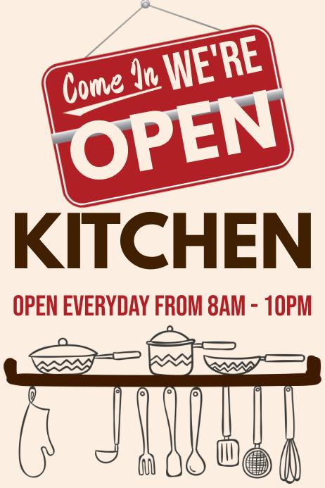 Kitchen Open Restaurant Promo Poster Template Plakat