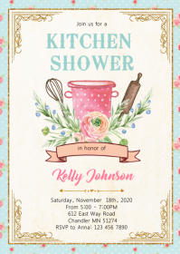 Kitchen shower party invitation A6 template