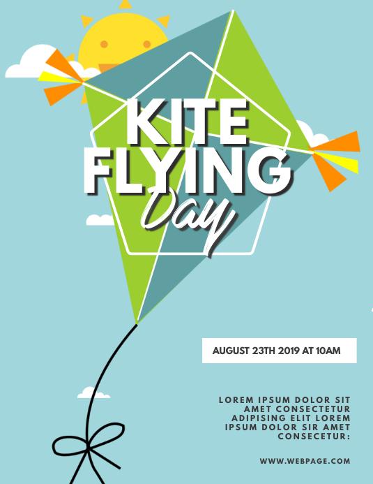Kite Flying Day Flyer Template Løbeseddel (US Letter)