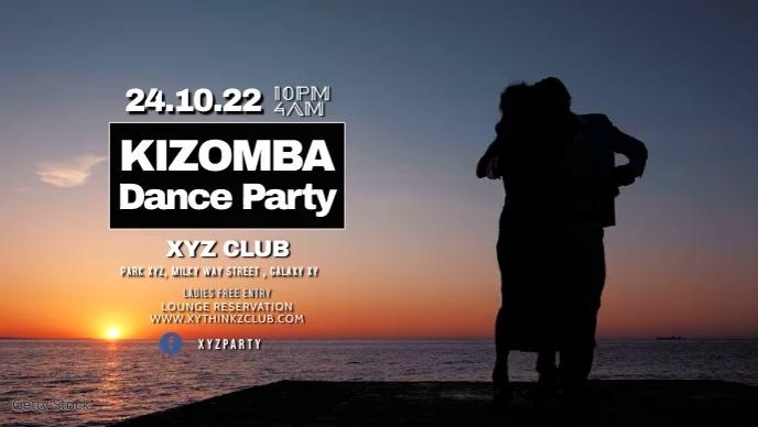Kizomba Latin Salsa Bachata Dance Lesson Ad วิดีโอหน้าปก Facebook (16:9) template