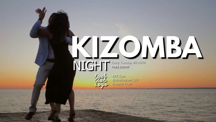 Kizomba night latin bachata salsa fiesta ad Facebook-Covervideo (16:9) template