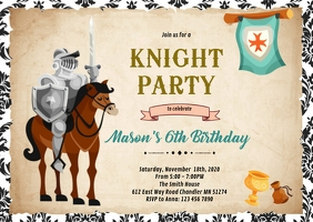 Knight prince birthday invitation A6 template
