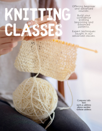 Knitting Class Funny Cute Instruction Flyer template