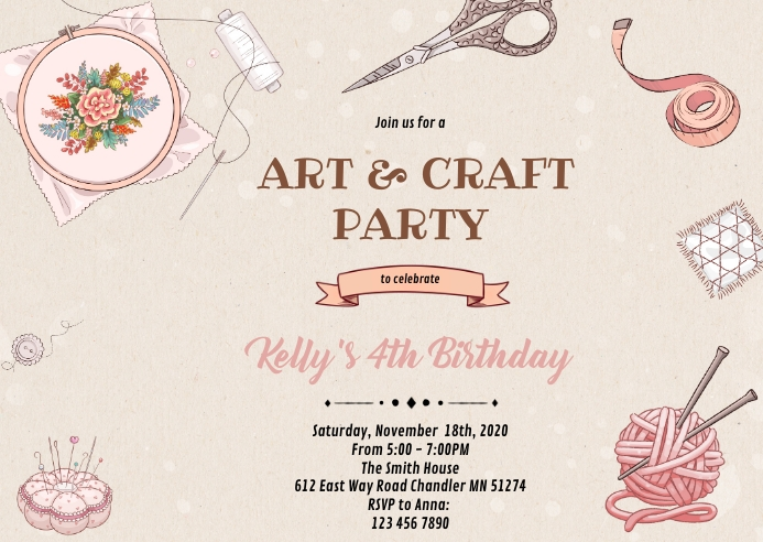 Knitting craft party invitation A6 template