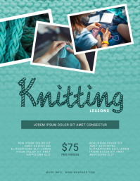 Knitting lessons flyer template