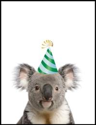Koala birthday greeting ใบปลิว (US Letter) template
