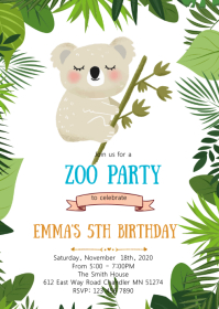 Koala birthday party invitation