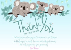 Koala Blue Thank You Postcard template