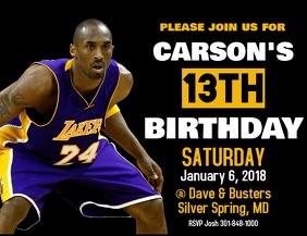 Kobe Bryant Birthday Invitation