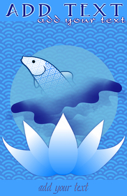 koi fish jumping & lotus illustration template
