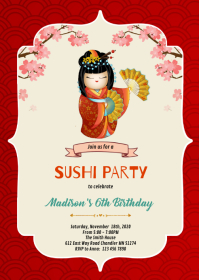 Kokeshi doll birthday invitation A6 template
