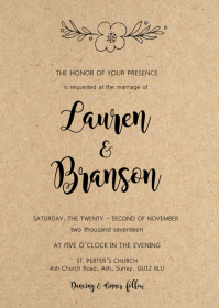 Kraft Floral wedding invitation