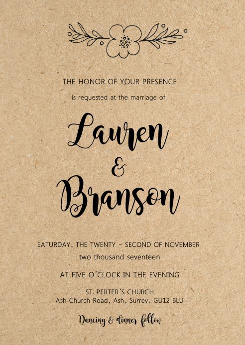 Kraft Floral wedding invitation