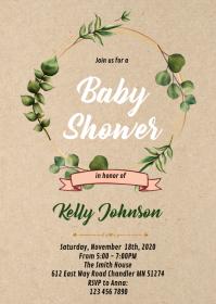 Kraft greenery wreath shower invitation A6 template