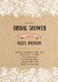 Kraft lace shower party invitation