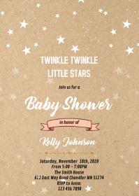 Kraft twinkle little star invitation