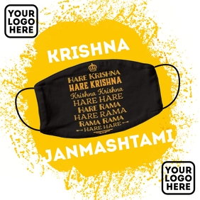 Krishna Janmashtami Face Mask Template Square (1:1)