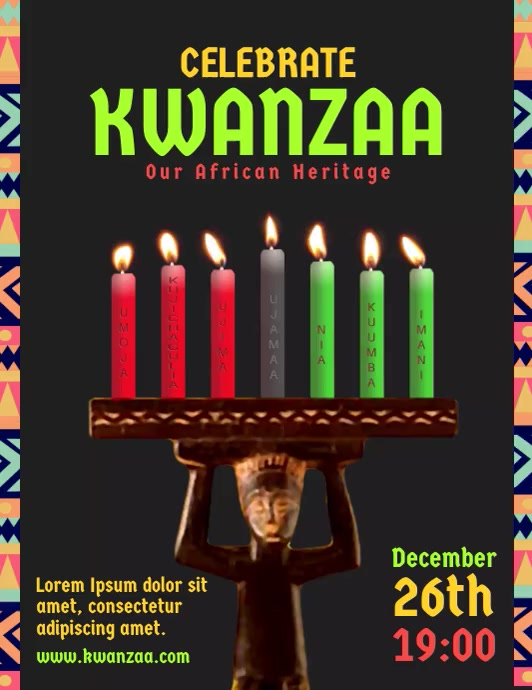 Kwanzaa Candles Event Flyer Video