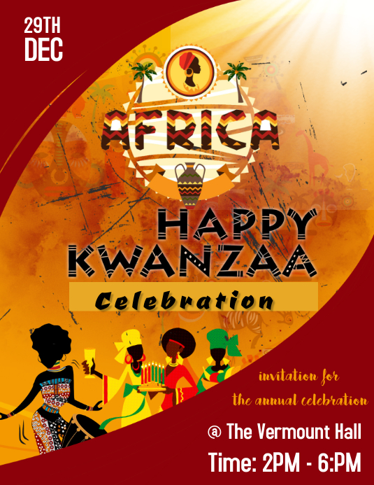 Kwanzaa celebration poster flyer design ,. template