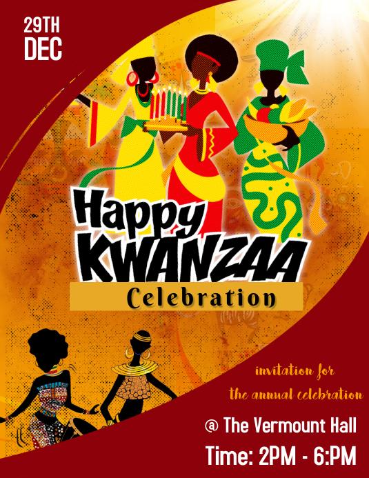 kwanzaa celebration poster flyer template .-