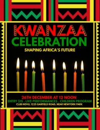 kwanzaa flyer, kwanzaa, kwanzaa party Løbeseddel (US Letter) template