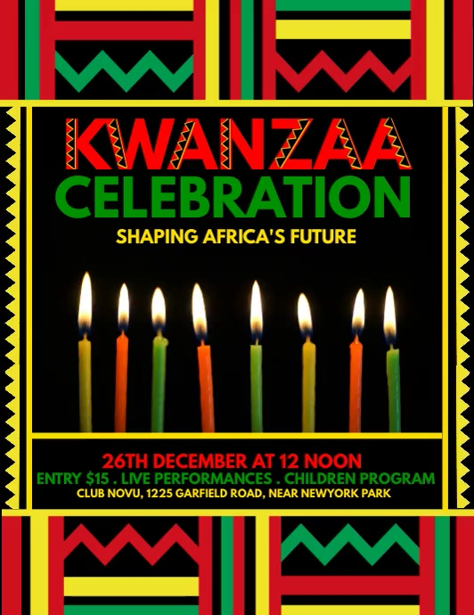 kwanzaa flyer, kwanzaa, kwanzaa party template