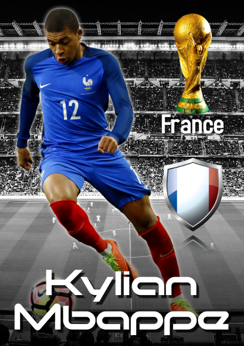 kylian mbappe poster template