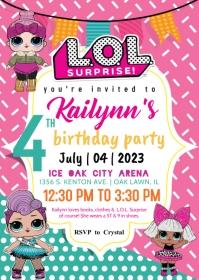L.O.L. Surprise Invitation A6 template