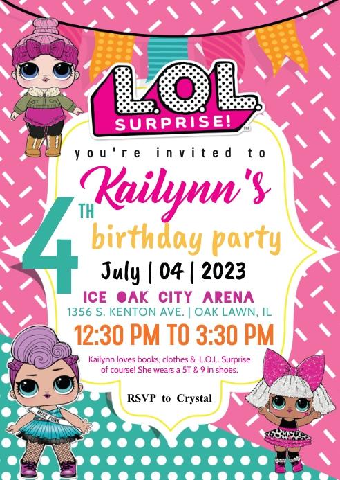 L.O.L. Surprise Invitation