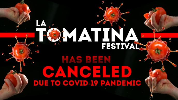 La Tomatina Festival in Covid-19 Template Facebook Cover Video (16:9)