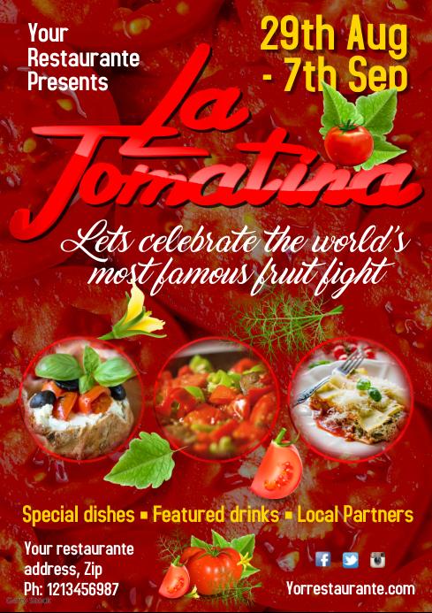 La Tomatina poster Template A3