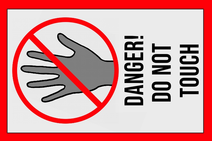label - danger do not touch - sign