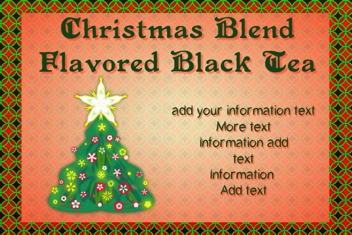 label for christmas blend black tea mix
